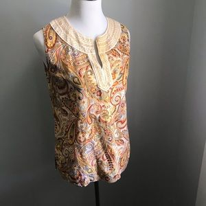 Cynthia Rowley embroidered linen tunic size large